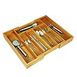 Oxid7® verstellbarer Besteckkasten aus Bambus H x B x T: ca. 37 x 31 - 48,5 x 5,3 cm ausziehbarer Besteckeinsatz - als Küchenorganizer und Schubladeneinsatz - große Besteckeinlage mit 5 bis 7 Fächern - Organizer aus Holz, natur