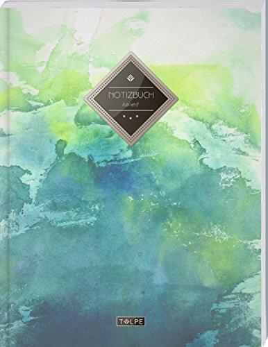 """TULPE Kariertes Notizbuch A4 """"C003 Grunge"""" (140+ Seiten, Vintage Softcover, Doppelrand, Seitenzahlen, Register - Dickes Notizheft, Matheheft, Skizzenbuch, Schulheft, Tagebuch, Kariertes Heft Nr 26)"""