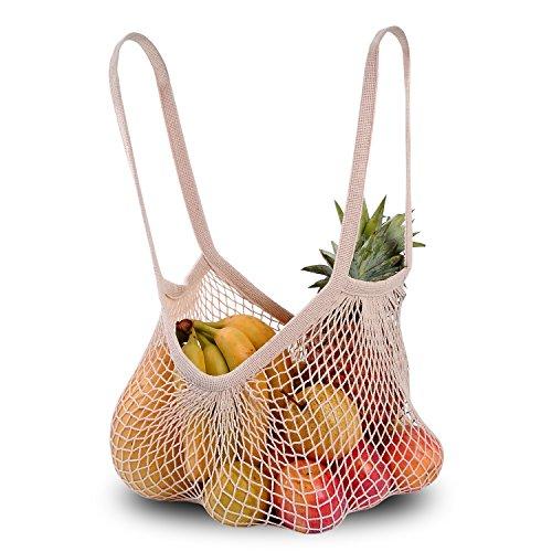 DimiDay Baumwolle wiederverwendbare Net Shopping Tote String Tasche Veranstalter für Lebensmittelgeschäft Shopping & Strand, Lagerung, Obst, Gemüse und Spielzeug (Lebensmittelgeschäft-tasche Große)