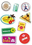 Supertogether World Travel Locations Suitcase Stickers - von 9 Gepäck Aufkleber Labels Set