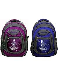 Attache Stylish School Bag (Purple & Royal Blue) Set Of 2