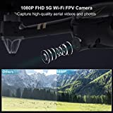 GPS RC Drone with Camera 1080P FHD Live Video and GPS Return Home, Virhuck V-6 5G Wi-Fi FPV Quadcopter, Follow Me, Altitude Hold, One Key Start/Landing, Longer Distance, Powerful Brushless Motor, Bonus Battery