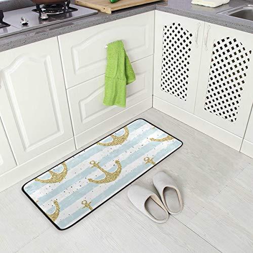 SENNSEE Strandanker gestreifte Küchen-Matten für drinnen und draußen, rutschfeste Küchen-Teppiche, bequem, kleine Bodenmatte für Zuhause, 99 x 51 cm