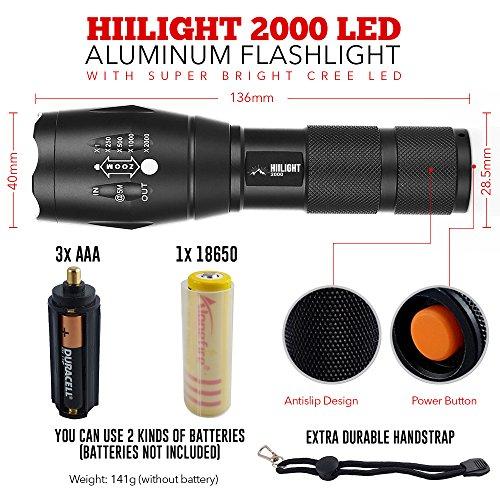 HIILIGHT LED Taschenlampe 2000 – Extrem Hell mit Zoom Funktion – Ideal für den Indoor und Outdoor Einsatz, Schwarz