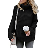 Aleumdr Womens Turtleneck Long Sleeves Chunky Knit Jumper Pullover Sweater
