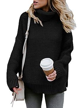 Aleumdr Mujer Jersey de Punto de Invierno Suéter de Cuello Alto Jerséis Casual para Mujer Size S-XL