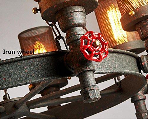 BZJBOY Kronleuchter Vintage Industrial Anhänger Deckenleuchte Steampunk Retro LOFT Creative Metall Wasserpfeife Kronleuchter 6 Lichter Wohnzimmer Schlafzimmer Bar Cafe Restaurant Dekoration Beleuchtung -