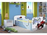 Kocot Kids Kinderbett Jugendbett 70x140 80x160 80x180 Blau mit Rausfallschutz Matratze Schublade und Lattenrost Kinderbetten für Junge - Formel 180 cm