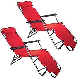 2x Smartfox Sonnenliege Gartenliege Strandliege 3 Sitz-/Liegepositionen ca. 180 cm Rot