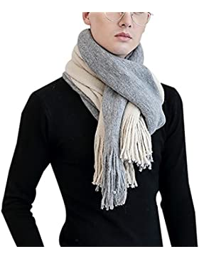 Aivtalk - Bufanda de Punto con Fleco Foulard de Moda para Invierno Hombre Mujer - Gris - 45x200cm