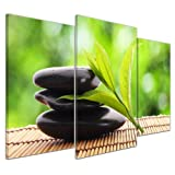 Bilderdepot24 Kunstdruck - Zen Steine V - Bild auf Leinwand - 100x60 cm 3 teilig - Leinwandbilder - Bilder als Leinwanddruck - Wandbild Geist & Seele - Asien - Wellness