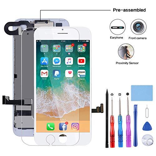 YPLANG Pantalla para iPhone 7 Blanco Herramientas de Reparación con Cámara Frontal, Altavoz del...
