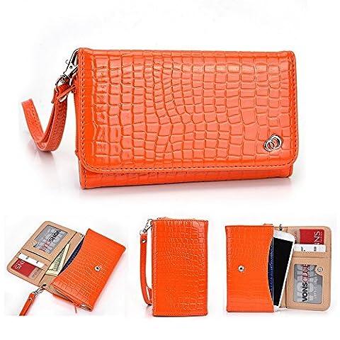 Kroo universel pour smartphone avec bracelet croco Étui portefeuille pour Samsung Galaxy S5Mini/A3/Core 2Mobile orange