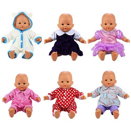 Miunana Poupée Poupon Vêtement 6 Ensembles Tenues Mignonnes Vêtement Colorés à la Main pour La Poupée Corolle et Poupée Bébé de 36 CM