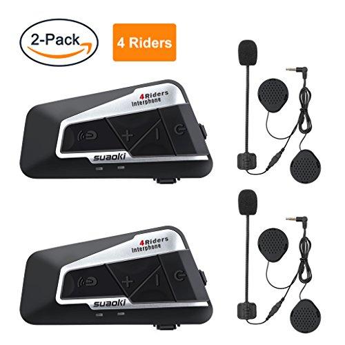 SUAOKI T9S Gegensprechanlage Motorrad Bluetooth Intercom V4 Helm Headset 1200M mit 2 Paar Mikrofone für Motorrad, Fahrrad, ATV, Auto (Dual) (Intercom-einheit)
