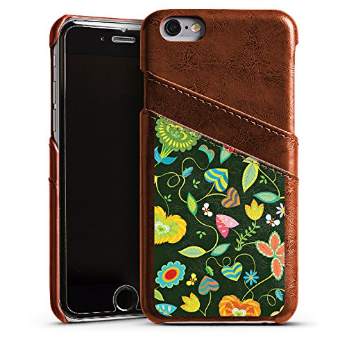 Apple iPhone 5s Housse Étui Protection Coque couleurs Fleurs Fleurs Étui en cuir marron