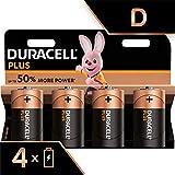 Duracell Plus, lot de 4 piles alcalines type D 1,5 Volts, LR20 MN1300 (visuel non contractuel)...