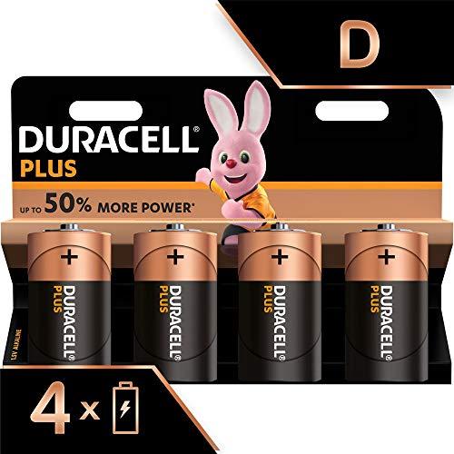 Duracell Plus, lot de 4 piles alcalines type D 1,5 Volts, LR20 MN1300 (visuel non contractuel)