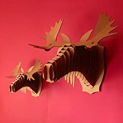 GIANT CARDBOARD SAFARI 3D PUZZLE animal head wall picture L Fred the moose