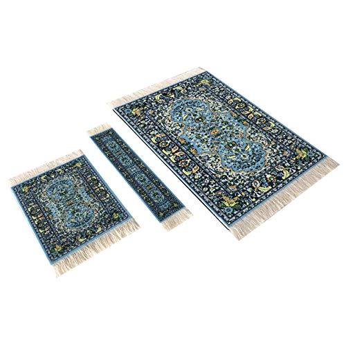 Set tappetino per mouse, sottobicchiere e segnalibro, accessori per ufficio, mini tappeti orientali, accessori per computer (blu) Blu