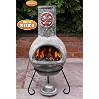 Gardeco C21CZ.03 Cruz Large Green Cross Design Mexican Clay Chimenea Chiminea. Includes Matching Lid, Steel Stand & Tigerbox Matches.