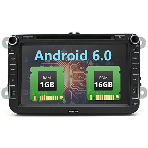 AWESAFE Autoradio 2 Din Octa Core Android 7.1 32GB+ 2GB mit Navi 8 Zoll Bildschirm Unsterstützt Bluetooth WLAN Subwoofer USB für VW Volkswagen SEAT SKODA Jetta Golf Passat Polo (1G 16GB) (2-gb-microsdhc-speicher)