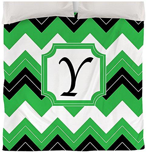 Manuelle holzverarbeiter & Weavers Bettbezug, Queen/Full, Monogramm Buchstabe Y, Schwarz Chevron (Chevron Schwarz Tagesdecke Weiß Und)