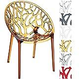 CLP Design-Gartenstuhl CRYSTAL aus Kunststoff I Wetterbeständiger Stapelstuhl mit einer maximalen Belastbarkeit von 160 kg I In verschiedenen Farben wählbar Bernstein