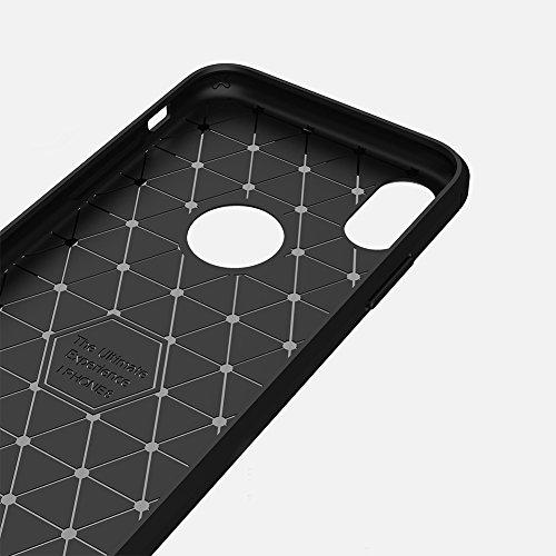 Apple iPhone X Coque, TopACE® Ultra Fine Mince Slim Effet Rigida Antichoc Etui Back Case Cover Parfait Design (Bleu) Soft Cover-Noir IV