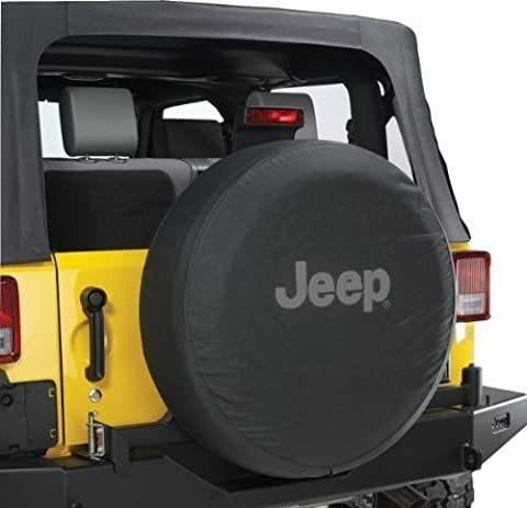 Jeep Wrangler Black Denim W/ Logo Spare Tire Cover 32-33 Inch Mopar OEM by Mopar