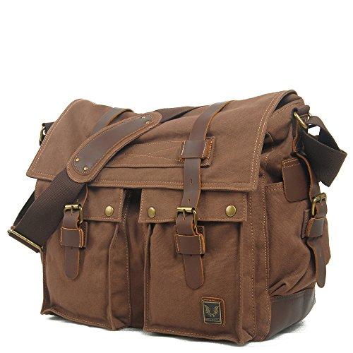 BSDZ Herren Umhängetasche Schultertasche Canvas Daypack Männer Messenger Bag Top Qualität Reisetasche (Dunkel Braun) -
