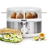 Duronic EB35 Hervidor para Huevos Eléctrico – de 1 a 7 Huevos – Cocedor de Huevos Con Termostato y Minutero para Conseguir Huevos Duros / Huevos Mollet / Huevos Pasados por Agua – Función para Preparar 2 Tipos de Huevos a la Vez – Incluye Vaso Dosificador y Perforador de Huevos