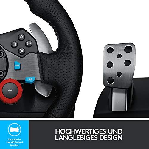 Bild 4: Logitech G29 Driving Force Gaming Rennlenkrad, Zweimotorig Force Feedback, 900° Lenkbereich, Leder-Lenkrad, Verstellbare Edelstahl Bodenpedale, PS4/PS3/PC/Mac - Schwarz