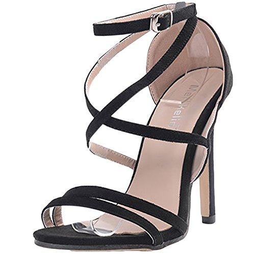 Oasap Women's Fashion Cross Strap High Stiletto Open Toe Sandals Black