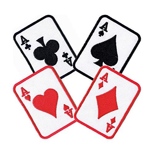 Lucky Patches, Aufnäher, Applikation, Aufbügler, Iron on Patch - Spielkarten, Kartenspiel, Ass, Herz, Karo, Pik, Poker, Rommé, Canasta - 5,3 x 7,3 cm set 4 pcs