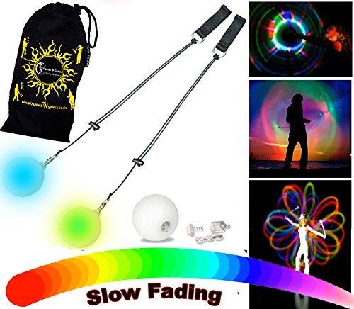 Pilas Incluidas. + Bolsa de Viaje Flames N Games Juego de calcet/ín UV y 2 Bolas LED Brillantes para Malabares Color Blanco