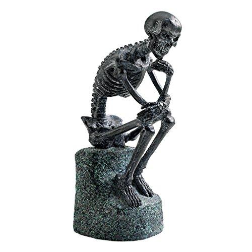 Design Toscano Skelett-Denker von Rodin  Gothic-Dekostatue, 25.5 cm, Grau -