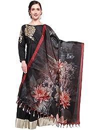 Mrinalika Fashion Cotton Silk Digital Print Dupatta (Dupattas For Womens _Salwar Suit Dgdpt02_Black_Free Size)