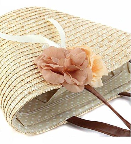 Borsa a tracolla a due fibbie di spalla delle donne Borsa a maglia delle donne a maglia delle donne tessute floreali Tote di spiaggia di estate di viaggio di svago , yellow beige (original)