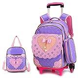 OPmeA Sac à Dos imperméable Trolley Bag Sac à Main pour Enfant Mignon Style Princesse de roulement (Couleur : Purple, Taille : Six Rounds)
