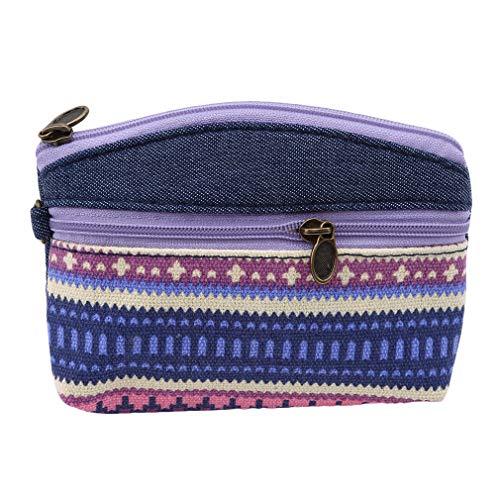 Hengxing Frauen Münze Geldbörse Doppel Reißverschluss Geldbörse Nette Gemusterte Schmuck Tasche Ethnische Handtasche Tasche, Lila