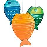 Elfen und Zwerge 3 x Fisch Lampions Laterne Gartenfest Meerestiere Sommerparty Deko Gartendeko Sommer Kinderzimmerdeko