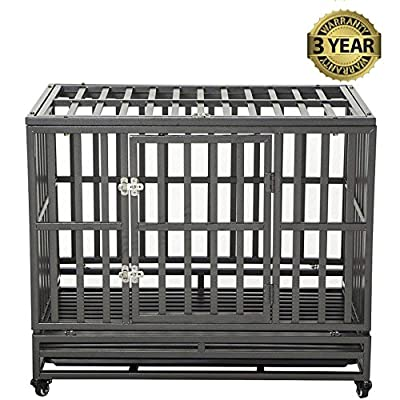 LUCKUP Heavy Duty Dog Cage Strong Metal Kennel and Crate for Large Dogs,Easy to Assemble Pet Playpen with Four Wheels by LUCKUP