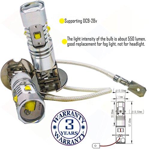 Preisvergleich Produktbild Wiseshine 6000k H3 LED-Nebelscheinwerfer lampen DC9-28v 3 Jahre Qualitätssicherung (2 Stück) H3 5 led HP reines Weiß