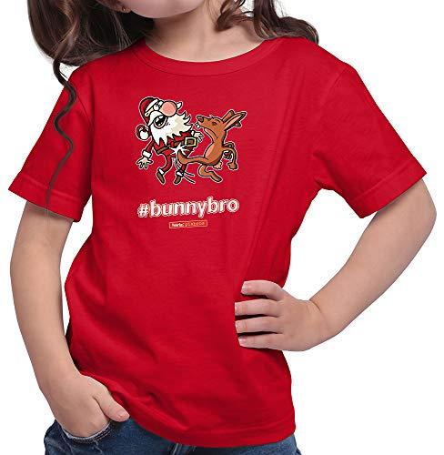 HARIZ  Mädchen T-Shirt Pixbros Bunnybro Xmas Weihnachten Witzig Familie Liebe Inkl. Geschenk Karte Rot 116/5-6 Jahre