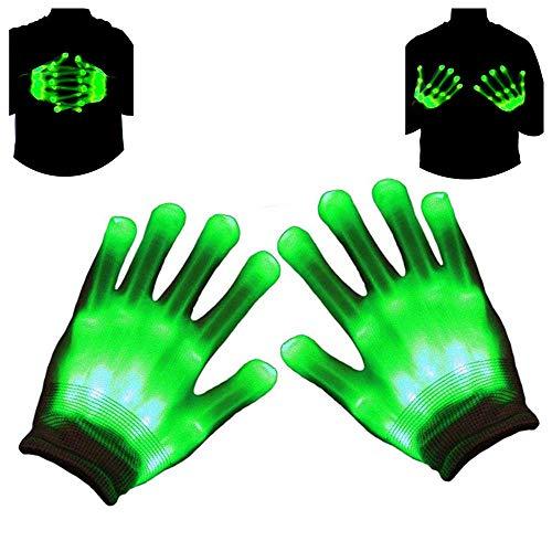 Drucken Fingerlose Handschuhe (Autbye Handschuhe LED Skelett Beleuchtung Blinkt Finger Begeisterte Halloween Spielzeug 2018 Verbessert Auflage Maskerade Cosplay Festival Party Stütze (Grünes Licht))