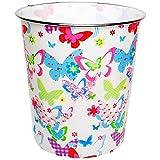 Papierkorb / Behälter - ' bunte Schmetterlinge & Blumen ' - 8,5 Liter - RUND - aus Kunststoff - Mülleimer / Eimer - Aufbewahrungsbox für Kinder / Büro - Mädchen & Jungen - Abfalleimer - Schule - für Kinderschreibtisch / Abfallbehälter Kinderzimmer - Erwachsene - Schmetterling / Blume - Blüte - auch als Blumentopf nutzbar - Kunststoffeimer / Abfallsammler - Spielzeugkorb / Popcornschüssel / Popcorn - Korb - Aufbewahrungskiste Badezimmer - Schüssel