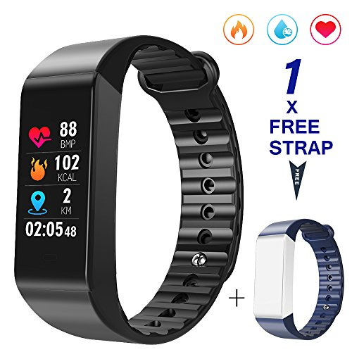 HYCLES Fitness Trackers Activity Watches Colorful Display with 6 Sport Modes Heart Rate/Blood Pressure/Sleep Monitor Calories Pedometer USB charge for iOS and Android(1Free Blue Strap)