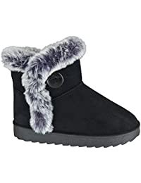 35914a10f807 EYESONTOES Ladies Womens Mid Calf Warm Winter Fur Lined Snugg Hug Grip Sole  Boots Size 3