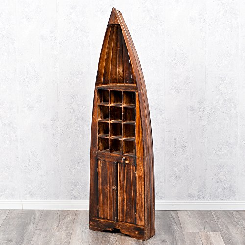 LEBENSwohnART Bootsregal/Weinregal PINTU Geflammt 150cm Regal Bücherregal Boot Deko Shabby (Bücherregal Boot)